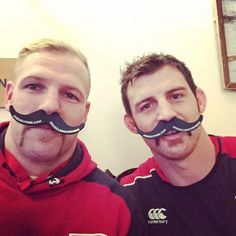 Myself and the rest of the boys are behind @movember. Its a great charity! Please help raise awareness. Tom wood and I looking sharp. @jhbodyfire we are running a special #musclemovember promotion. If you are coming to the game tomorrow you can pick up a foam mustache. Tweet or Instagram that photo! use @jhbodyfire and #MuscleMovemeber.