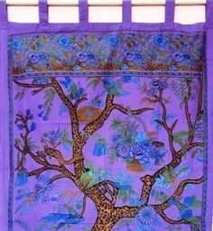 Handmade 100% Cotton Tree of Life Tab Top Curtain Drape Door Panel 44x88 Purple