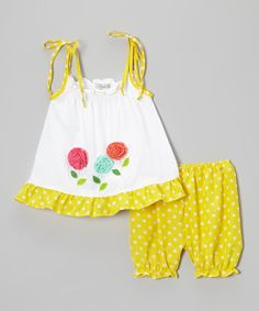 Yellow Polka Dot Flower Tank  Bloomers @Pascale Lemay De Groof