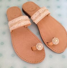 Handmade leather sandals decorated with lace in by Ilgattohandmade
