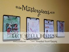 "www.lacybella.com  ""Masterpieces"" vinyl wall decal for kids hanging artwork display"