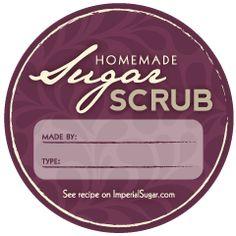 Round Homemade Sugar Scrub Labels - Free printable.