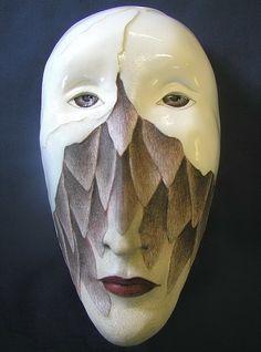 Birdgirl's Escape Ceramic wall mask Original Mask Art by unmasked