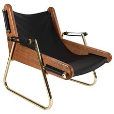 #armchair | GRAPPA Contemporary Leather Lounge Chair with Walnut Panels and Brass Piping