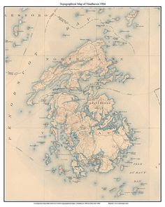 Vinalhaven Maine Old USGS Topo Map  1904 Custom Reprint by Oldmap