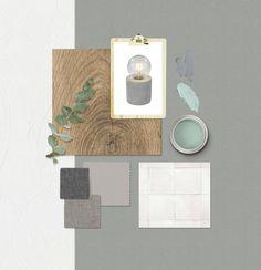 #KarweiMoodboardMaker Een Scandinavische inrichting met grijs, groen en wit tinten.
