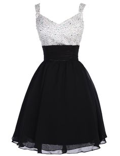 Tidetell.com Cute A-line V-neck Chiffon Beaded  Dress
