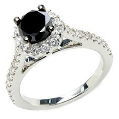 1 5/8 CTW Round Cut Diamond Engagement Ring in 14K White Gold