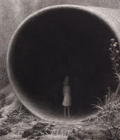 This Dreadful Emptiness: Dark And Depressive Illustrations By Aron Wiesenfeld Arte Horror, Creepy Art, Black And White Illustration, Pop Surrealism, Surreal Art, Dark Art, Art Inspo, Cool Art, Art Projects