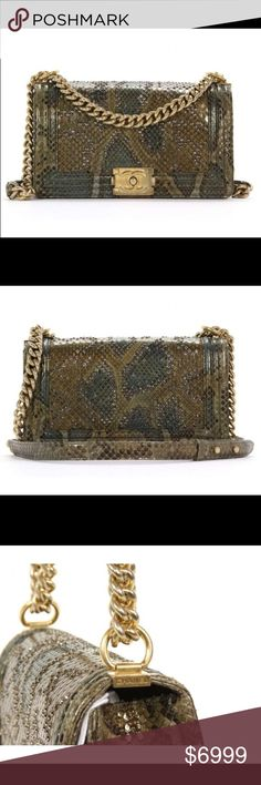 Chanel Python gold bling flap boy handbag bag We are proud to present a Python with Swarovski Crystals Boy Chanel Exotic Flap Bag by Chanel.    Retail price $12,000. Python Golden hardware Swarovski crystals Push lock Leather lining Made in France Serial number     Accessories: Authenticity card, dustbag, box.      Additional photos with zoom & complete description available on request. Please speak with me prior to making any purchases!!! CHANEL Bags Shoulder Bags
