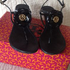 """TORY  BURCH Shelby Platform Sandal Like new wore 2 times feet are to fat for strap 2 1/4 """" heel black patent leather. Really cute on my loss is your gain. Could fit 8.5-9. Tory Burch Shoes Platforms"""