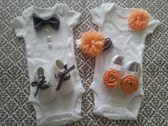 Boy Girl TWIN Outfits - Newborn Take Home, Peach & Gray, Bow Tie, Satin Headband, Shabby Flower, Crib Shoes, Pearl Necklace