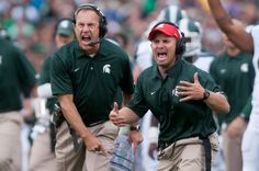 Head coach Mark Dantonio, left, and linebackers/special teams coach Mike Tressel shout during the game against Notre Dame Sept. 21, 2013, at...