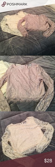 Lace Crop-Top Beautiful Lace crop top. Never been worn.  Size Medium. Comes in lavender and cream. 😊NWOT Please let me know which color you would like ..... maniju Tops Crop Tops