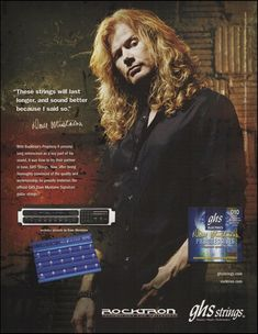 Megadeth Dave Mustaine Signature GHS guitar strings Rocktron Preamp 8 x 11 ad Guitar Books, Guitar Magazine, Signature Guitar, Dave Mustaine, Learn Something New Everyday, Pin Up Photos, Old Music, Guitar Strings, Thrash Metal