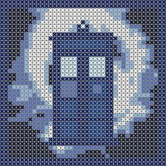 Cross Stitch Charts Tardis in vortex, cross stitch pattern, would be great as an ornament or in Hama Perler Beads. Doctor Who xstitch Beaded Cross Stitch, Cross Stitch Charts, Cross Stitch Designs, Cross Stitch Embroidery, Cross Stitch Patterns, Crochet Fox, Crochet Cross, Crochet Stitches, Crochet Pattern