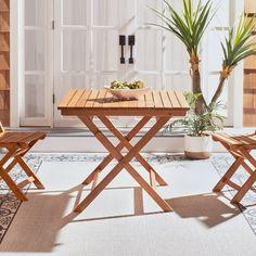 """SAFAVIEH Outdoor Living Kresler Folding Table - 35.4""""x35.4""""x29.5"""" - On Sale - Overstock - 29593358 Outdoor Folding Table, Outdoor Dining Set, Patio Table, Outdoor Living, Outdoor Decor, Dining Sets, Lawn Furniture, Outdoor Furniture Sets, Wooden Furniture"""