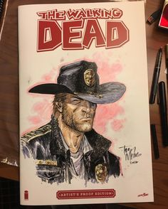 Just wrapped up this 11x17 #WalkingDead Artist's Proof Edition, rare blank variant edition. Ink & Copic Markers. You could make it yours at the @cincycomiccon Art Auction Party this Saturday night! #thewalkingdead #comics #comicon #cincy #cincinnati...
