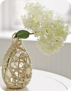 old vase + old doily repurposed