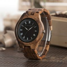 Wooden Casual Bobo Bird design watch for men. Two Toned colors with a case. Wood Watch, Bird, Watches, Accessories, Products, Wood Bracelet, Wood Clocks, Bracelets, Dark