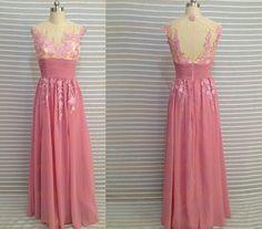 Applique Bridesmaid Dress Peach Chiffon Bridesmaid by Loveand520