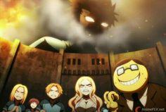Attack on Titan and Assassination Classroom in one anime. Manga Anime, Anime Meme, All Anime, Anime Crossover, Koro Sensei Quest, Karma Y Nagisa, Saiunkoku Monogatari, Otaku, Manhwa