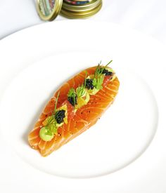 Caviar and avocado purée round off an elegant citrus-cured salmon recipe from Luke Tipping. Serve as a sublime start to an extravagant dinner party.
