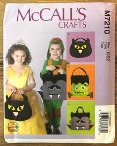 UNCUT Halloween Treat Bag Sewing Pattern McCall's 7210