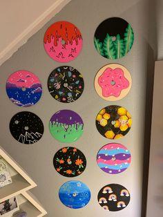 Record Wall Art, Cd Wall Art, Cd Art, Small Canvas Art, Mini Canvas Art, Diy Canvas, Indie Room Decor, Cute Bedroom Decor, Cute Paintings