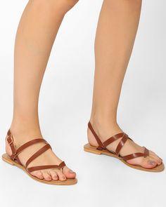 53462549dc8 Buy AJIO Tan Faux-Leather Slingback Flats Sandals online