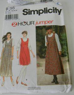Simplicity 9755 Womans Jumper Dress Pattern 12 14 16 Easy 2 Hour Uncut