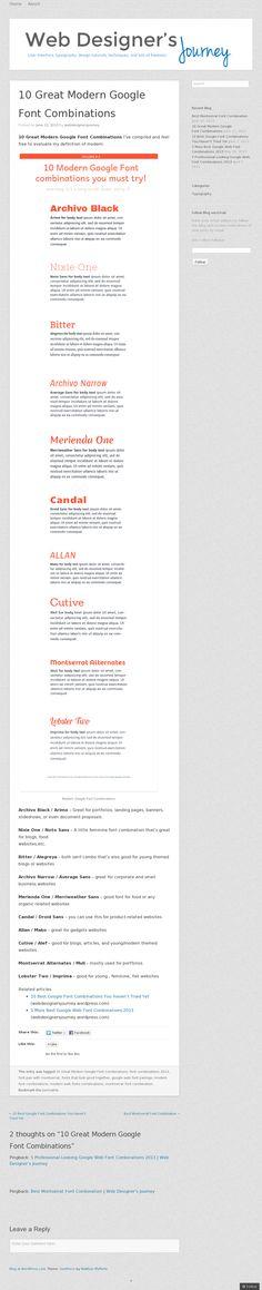 Website 'http://webdesignersjourney.wordpress.com/2013/06/12/10-great-modern-google-font-combinations/' snapped on Snapito!