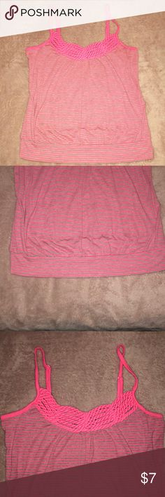 Hot Pink & Gray Striped Tank Top Perfect for summer, adjustable straps. EUC, yah says XL but would probably fit better as a form fitted L or slightly loose M, in my opinion. Please let me know if you would like any measurements, happy to provide! 😊 Tops Tank Tops