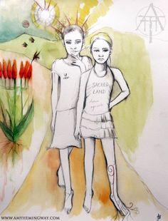 Xhosa children in South Africa, aloe plants, sun, landscape, painting, portrait, watercolour, tribal, drawing
