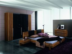 Marin Platform Bed shown with matching nightstands, dresser, and optional Black headboard pillows