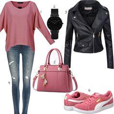 Lässiger Damen-Look mit Lederjacke und Sneakern (w0987) #jeans #lederjacke #sneaker #puma #uhr #outfit #style #fashion #womensfashion #womensstyle #womenswear #clothing #frauenmode #damenmode #handtasche #inspiration #frauenoutfit #damenoutfit