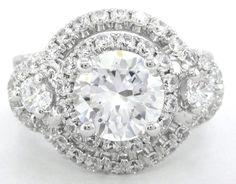 Round cut diamond engagement ring art deco 250ctw by KNRINC, $4,597.00