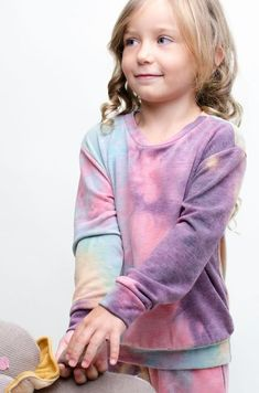 Cozy Tie Dye KIDS Sweatshirt in Purple/Jade Grace And Co, Contemporary Fashion, French Terry, Love Fashion, Joggers, Tie Dye, Cozy, Purple, Sweatshirts