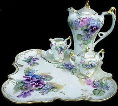 Elegant Victorian tea or chocolate set trimmed with gold and mother of pearl - Tea Set - Ideas of Tea Set - Elegant Victorian tea or chocolate set trimmed with gold and mother of pearl. Beautiful Pansy and violet motif. Tea Cup Set, My Cup Of Tea, Tea Cup Saucer, Tea Sets, Vintage Dishes, Vintage China, Vintage Tea, Dress Vintage, Chocolate Pots
