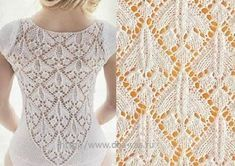 Pattern No. 119 - Kaleidoscope of patterns for hand knitting- Lace Knitting Stitches, Lace Knitting Patterns, Knitting Charts, Stitch Patterns, Diy Crafts Knitting, Easy Knitting, Knitting Socks, Knit Vest Pattern, String Bag