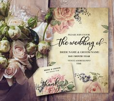 Beautiful Maureen. Edit the text in Microsoft word. Vintage wedding design. soft watercolor roses.