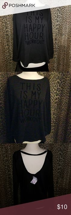 Black Long Sleeve active shirt Black This Is My Workout Shirt evcr Tops