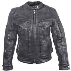 Womens Multi-Pocket Armored Leather Motorcycle Jacket