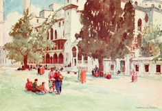 """'Court of the Suleimaniyeh' from """"Constantinople painted by Warwick Goble"""" (1906)"""