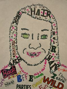 FLYING CRAYONS and other adventures in my elementary art room: FOURTH GRADE SELF PORTRAITS AND TYPOGRAPHY