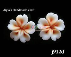 4pcs 12mm Orange Polymer Clay FIMO Flowers for Beads by diyla, $1.80