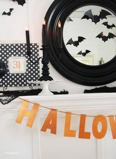 Halloween Mantle 2015 - love the black polka-dot frame