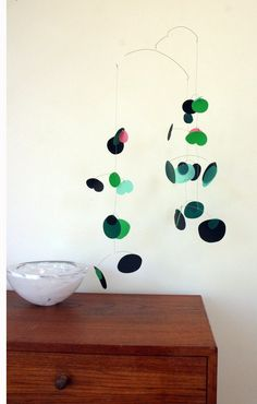 Sprout modern hanging mobile  woodland leaf green by pukapuka, $160.00