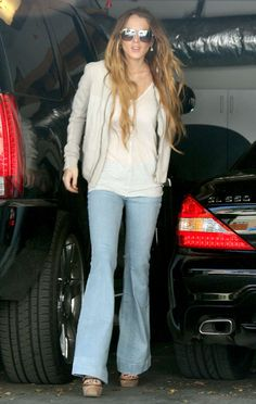Lindsay Lohan wearing Chloe 2165 Jumbo Aviator Sunglasses, Alexander Wang Krystle sandals in Bone,  Leaving the Chateau Marmont in Hollywood...