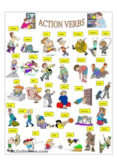 ACTION VERBS worksheet - Free ESL printable worksheets made by teachers Mais More on trading on interessante-dinge. English Verbs, English Vocabulary, English Grammar, English Study, English Lessons, Learn English, English Language Learning, Teaching English, Verb Worksheets